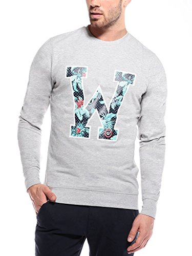 WOLDO Athletic Herren Sweatshirt mit Blumenprint Pullover Slim Fit
