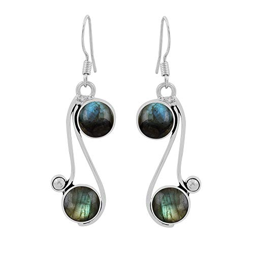 Genuine Round Shape Labradorite Dangle Earrings 925 Silver Overlay Handmade Vintage Style Jewelry For Women Girls