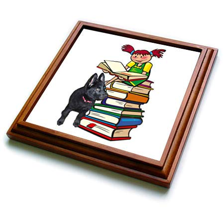 3dRose Sandy Mertens Dog Designs - Study Buddy GSD Puppy with School Girl on Books, 3drsmm - 8x8 Trivet with 6x6 ceramic tile (trv_295174_1)