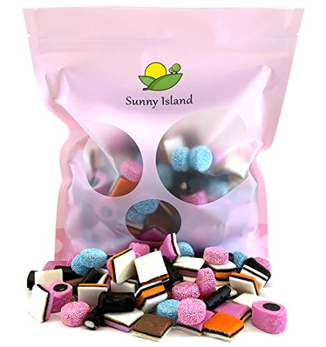 Sunny Island Bulk - Gustaf's Gourmet English Licorice Allsorts Candy, Mix Sweet Licorice Twists Retro Candy, 2 Pounds Bag