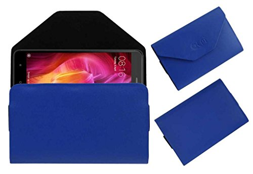 Acm Flip Flap Pouch Case Compatible with Xiaomi Redmi Note 4 4  gb Mobile Leather Cover Blue