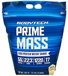 BodyTech Prime Mass High Proetin Weight Gainer with 55 Grams of Protein per Serving to Support Muscle Growth Performance Blend of Creatine, Glutamine BCAA s Vanilla 12 Pound