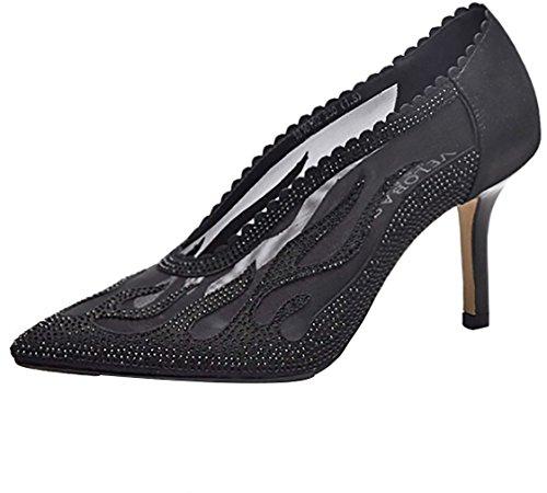 Calaier Women canoy Pointed-Toe 8CM Stiletto Slip-on Court Shoes Black Rv6bzGJ7S4