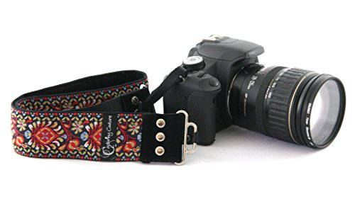 Capturing Couture Harmony Neck Shoulder Strap For Canon, Nikon, Samsung, Olympus, Sony, Fujifilm, Panasonic, DSLR Cameras and a Spot Cleaning Cloth With Storage Pouch (Camera Vintage Strap)