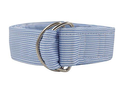 [Blue Stripe D-Ring Silk Ribbon Belt - (S, Blue Stripe)] (Belt Clothing Brands)