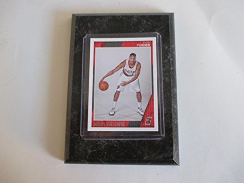 "Evan Turner Portland Trail Blazers NBA Hoops player card mounted on a 4"" x 6"" black marble plaque"