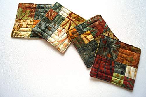 Print Batik Patch - Batik Quilted Patchwork Coasters Set with Nature Theme Fabric
