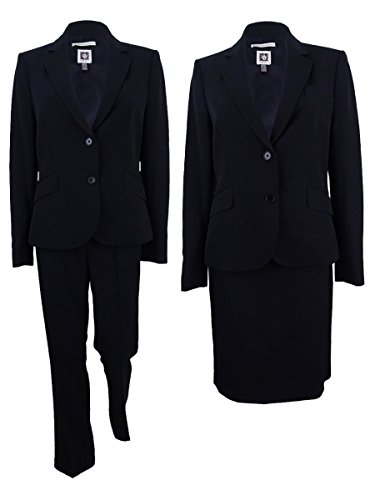 Anne Klein Womens Two-Button 3-Piece Skirt Pant Suit Black ()