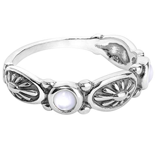 American West Sterling Silver White Mother of Pearl Gemstone Concha Design Band Ring Size - Native American White Ring