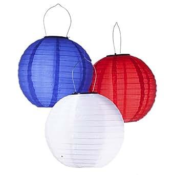 LED Concepts PLNT-SLR-3 Light Up Chinese Lanterns, Red/White/Blue (Pack of 3)