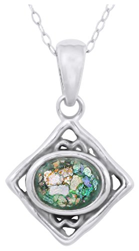 Roman Chain Sterling Silver Glass (Kite Shaped Sterling Silver Pendant with Oval Roman Glass (chain NOT included))