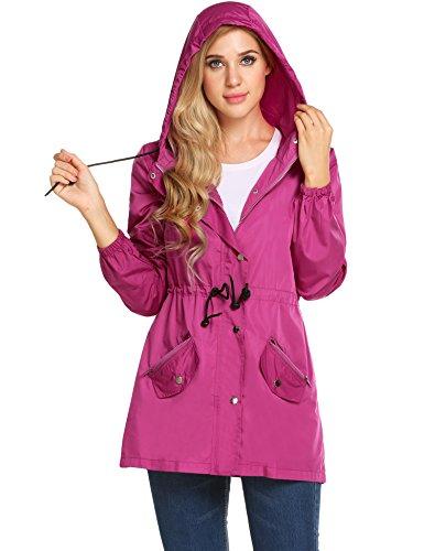 UNibelle Women Raincoat Lightweight Hooded Rain Jacket Outdoor Active Windbreaker Waterproof Trench Coats - Raincoat Pink Hooded