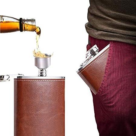 Petacas de Alcohol Acero Inoxidable 8 oz,Frasco de la Cadera Cuero Whisky con Embudo y 2 Vasos,Para Viajes Aventura Acampadas Escalar