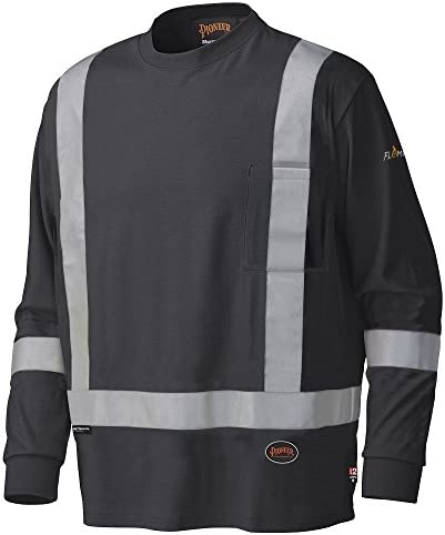 Pioneer Flame Resistant Cotton Long Sleeve High Visibility Safety Work Shirt, Black, XL, V2580470-XL