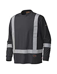 Pioneer V2580470-5XL Long-Sleeved Cotton Safety Shirt, Flame Resistant Black, 5XL