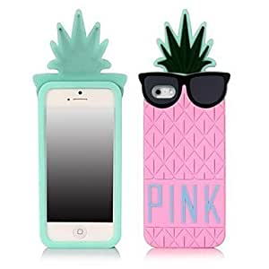 ZLXUSA (TM) Handsome Pineapple Cartoon Silica Gel Back Cover for iphone 6 plus Pink