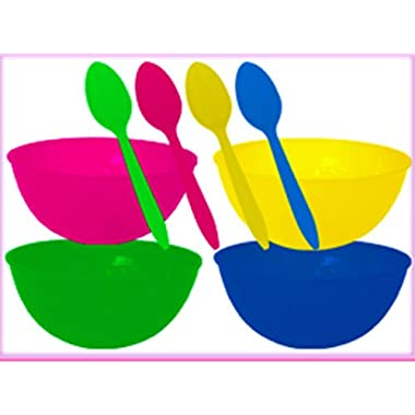 Cereal Bowls Color Changing with 4 Reuseable Color Changing Spoons Bundle of 2 Items