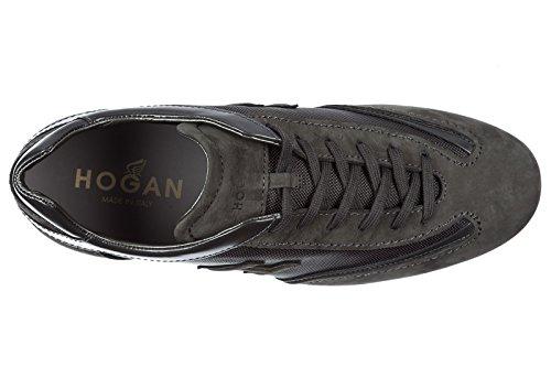 Hogan Chaussures Baskets Sneakers Homme en Daim olimpya Slash h 3D Gris