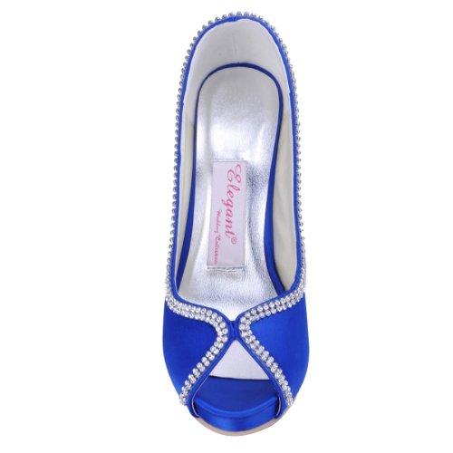 High Blue Satin Heel Women Pumps Wedding ElegantPark IP Peep Shoes EP11083 Platform Prom Bridal Rhinestones Toe fvqaZCwqx