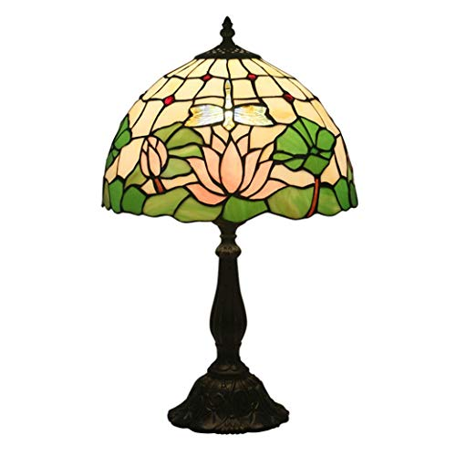 (ChuanHan 12-Inch Table Lamp, Tiffany Style Desk Lamp/Reading Light, European Style Creative Stained Glass Table Light, Bedside Lamp, Reading Lamp, E27, Resin Base)