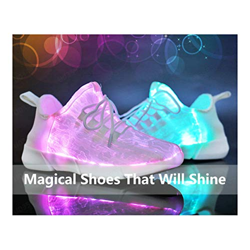 4afd5877cda0c All White Sneakers for Women Men の Luminous LED Light Casual Trainer His  and Hers Breathable Walking Shoes Sameno Street