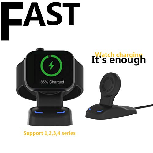 Price comparison product image Fast Wireless Charger Charging Dock Stand Holder for Apple Watch Series 4 (2018) / Series 3 / Series 2 / Series 1 / 44mm / 42mm / 40mm / 38mm (Black)