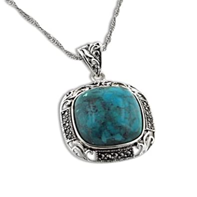 Art Deco Squared Turquoise and Marcasite Sterling Silver Pendant 18 Necklace