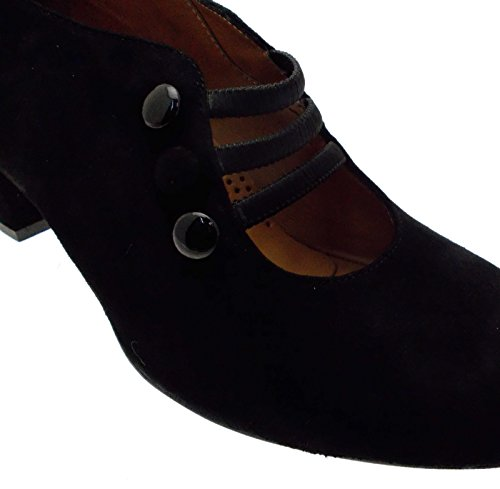 en 03264A Lacets Daim Femmes Noires Chaussures Decolt Boutons qvYw1Tq