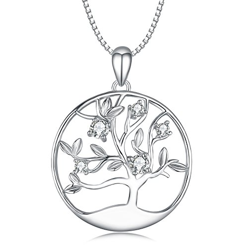 - LONAGO Sterling Silver Necklace Disc Pendant for Dad Sister Grandma Aunt Wife Daughter Mom Family Tree of Life Charms