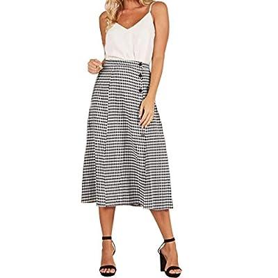 Women High Waist VintageSkirt Plaid Button Side Split Party Slit Skirt