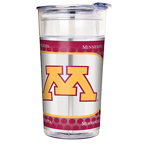 Minnesota Golden Gophers Acrylic Football - Great American Products NCAA Minnesota Golden Gophers Double Wall Acrylic Party Cup with Metallic Graphics, 22-Ounce, Clear