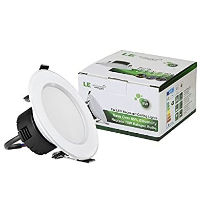 LE® 8W 3.5-Inch LED Recessed Lighting, 75W Halogen Bulbs Equivalent, LED Driver Included, 400lm, Daylight White, 6000K, 90° Beam Angle, Recessed Ceiling Lights, Recessed Lights, LED Downlight