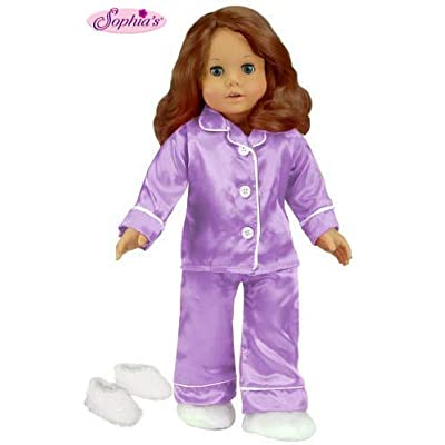 Sophia's 18 Inch Doll Clothing, Lavender Satin Doll PJ's with White Slippers Made, Doll Pajamas Set Fits American Girl Dolls: Toys & Games