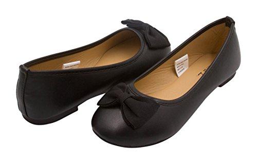 [Sara Z Girls Vegan Ballet Flat With Grossgrain Bow 2-3 Black] (Black Kids Shoes)