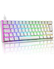UK Layout 60% Mechanisch Gaming Toetsenbord Type C Bedraad 61 Toetsen LED Backlit USB Waterdicht Toetsenbord 14 Chroma RGB Backlight Volledige Anti-ghosting Toetsen (Wit/Rode Schakelaar)