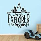 Iusun Little Explorer Wall Stickers DIY Decal Removable Self-Adhesive Art Mural for Bedroom Living Room Restaurant Kids Nursery Kindergarten Mall Decoration (Black)