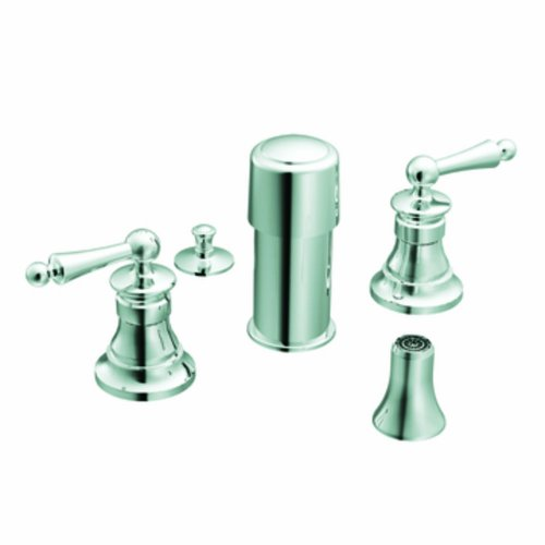(Moen TS415 Waterhill two-handle bidet faucet (valve not included), Chrome)