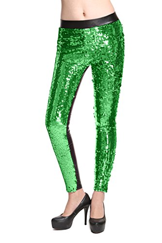 Lotsyle Faux Leather with Sequins Leggings Fashion Pants Bling Tights -
