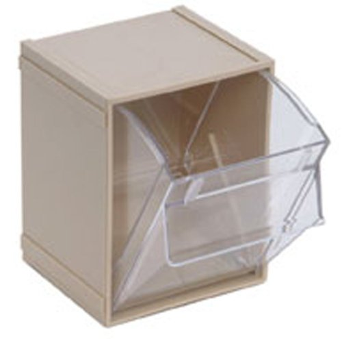 Quantum QTB405 Clear 4-Inch by 4-1/2-Inch by 8-1/8-Inch Tip Out Bin System, Ivory, Case of 5