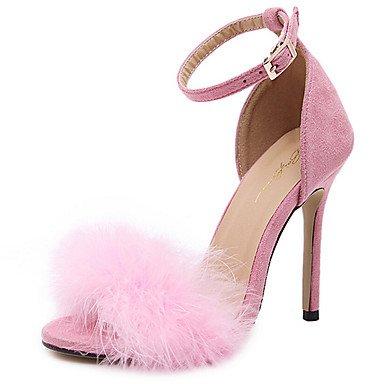 LvYuan y Rojo Noche Sandalias Informal y Vestido Negro Trabajo Oficina Talón Tacón Rosa Mujer Stiletto Descubierto Ante Pink Fiesta Innovador qYUxOqr