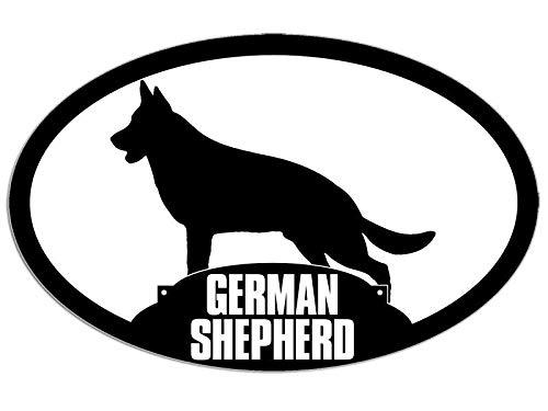 MAGNET 3x5 inch Oval GERMAN SHEPHERD Silhouette Sticker -decal dog breed love k9 police Magnetic vinyl bumper sticker sticks to any metal fridge, car, signs ()