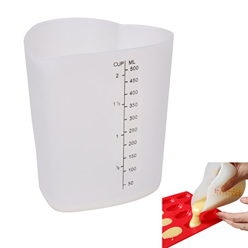 Supershopping 2-Cup Silicone Measuring Cup, Heart shape Stir and Pour Flexible Measuring Beaker