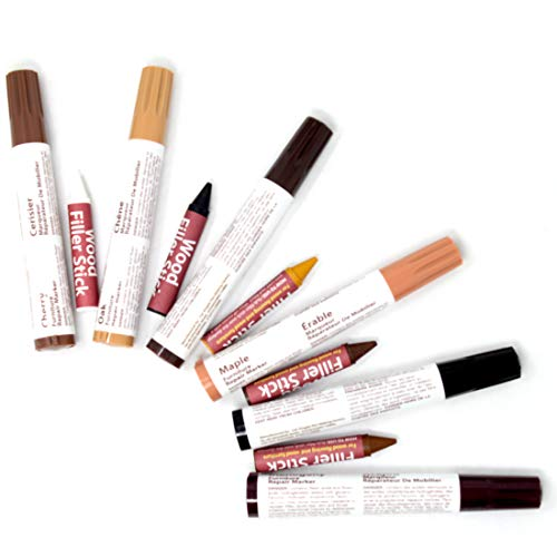 Floor Laminate Mahogany (#1 Premium 11 Pc Furniture Touch Up Restore & Repair System Kit Markers Filler Set for Stains, Scratches, Carpenters, Tables, Desks Color Matching-Set of 11,5 Touch Up Stick Crayons,6 Markers Pens)