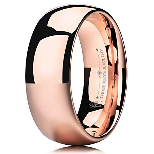 (THREE KEYS JEWELRY 8mm Tungsten Carbide Wedding Ring for Women Plated Rose Gold Wedding Band Engagement Ring Polished Comfort Fit Size)
