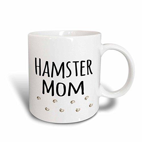 3dRose mug_154050_2 Hamster Mom for Female Girl Rodent Pet Owners with Trail of Footprints Ceramic Mug, 15 oz, White White Hamster