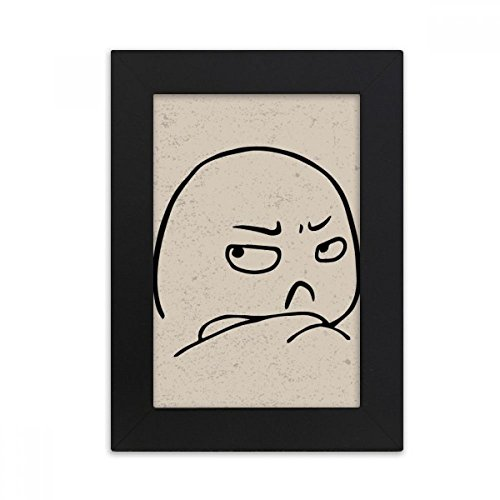 Hook Strabismus (DIYthinker Get Angry Strabismus Black Emoji Desktop Photo Frame Picture Black Art Painting 5x7 inch)