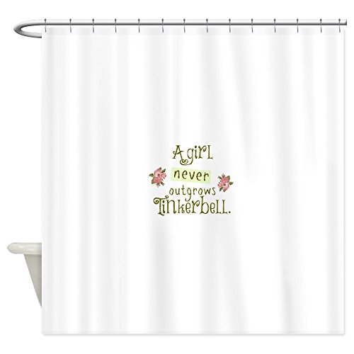 CafePress A Girl Never Outgrows Tinkerbell Decorative Fabric Shower Curtain (69