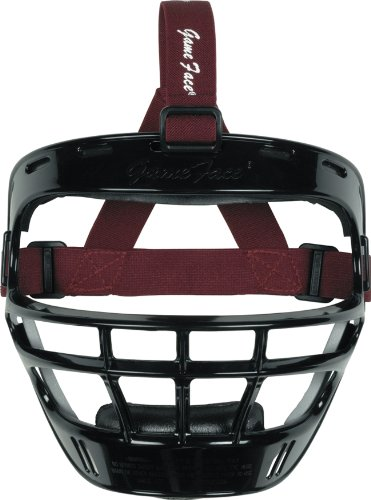 - Markwort Game Face Sports Safety Mask (Black with Maroon Ponytail Harness, Large)