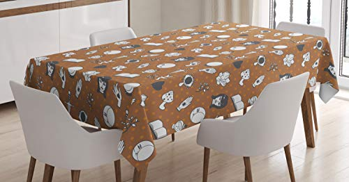 Lunarable Alchemy Tablecloth, Mystic Magic Witchcraft Moon Halloween Superstition Humour, Dining Room Kitchen Rectangular Table Cover, 60