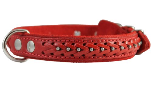 Genuine Leather Braided Studded Dog Collar, Red 1